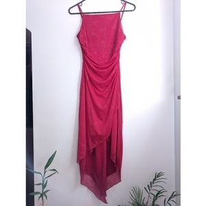 Early 2000s Red Floral Square Neck Ruched Dress